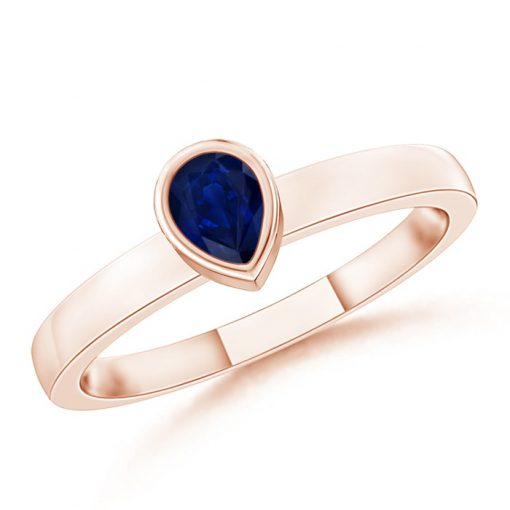 Bezel-Set Solitaire Pear Blue Sapphire Stackable Ring