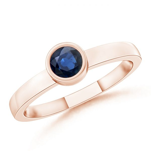 Bezel-Set Solitaire Round Blue Sapphire Stackable Ring