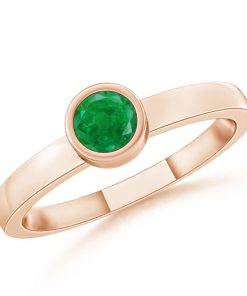Bezel-Set Solitaire Round Emerald Stackable Ring