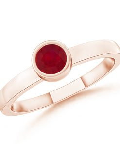 Bezel-Set Solitaire Round Ruby Stackable Ring
