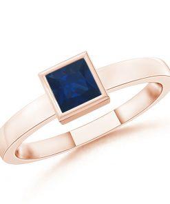 Bezel-Set Solitaire Square Blue Sapphire Stackable Ring