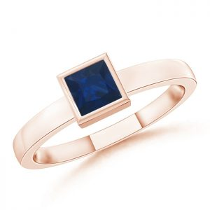 Bezel-Set Solitaire Square Blue Sapphire Stackable Ring