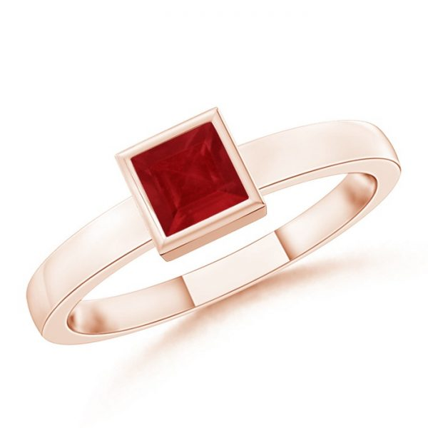 Bezel-Set Solitaire Square Ruby Stackable Ring