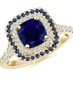 Blue Sapphire and Diamond Double Halo Ring