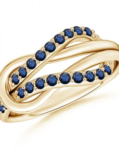 Encrusted Blue Sapphire Infinity Love Knot Ring