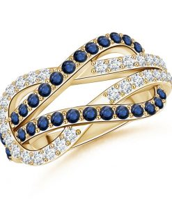 Encrusted Blue Sapphire and Diamond Infinity Knot Ring