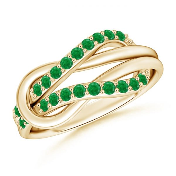Encrusted Emerald Infinity Love Knot Ring