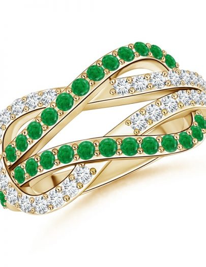 Encrusted Emerald and Diamond Infinity Knot Ring