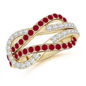 Encrusted Ruby and Diamond Infinity Knot Ring