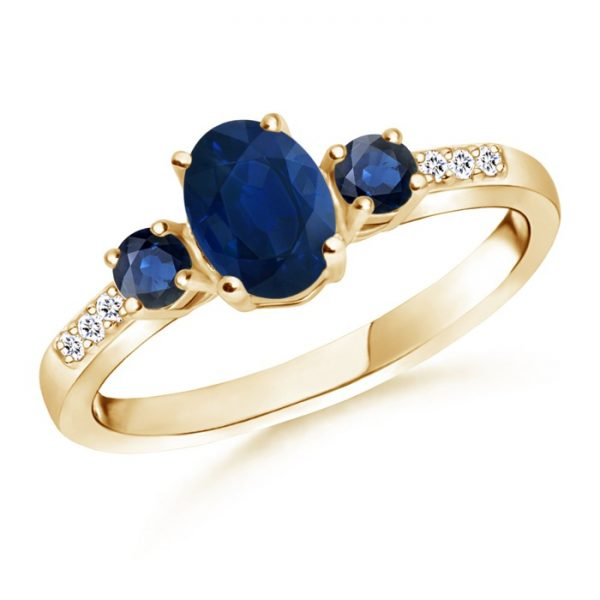 Oval Sapphire Three Stone Ring with Diamond Accents