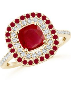 Ruby and Diamond Double Halo Ring