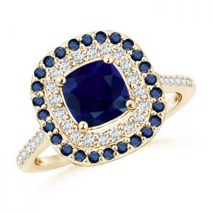 Sapphire and Diamond Double Halo Ring