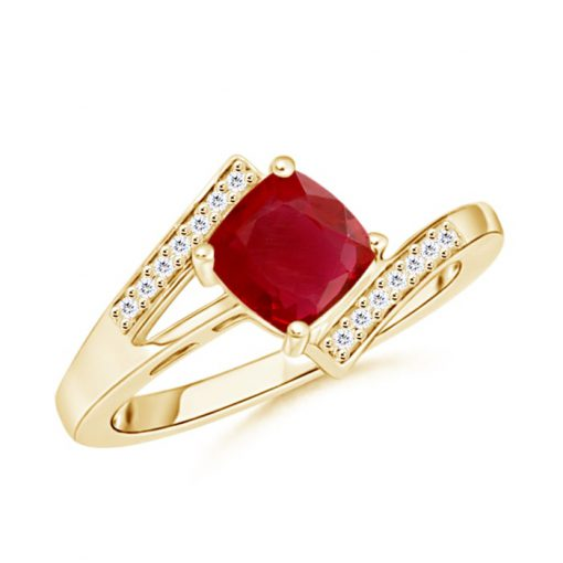 Solitaire Cushion Ruby Bypass Ring with Diamond Accents