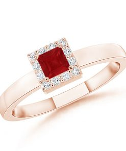 Square Ruby Halo Promise Ring with Diamonds