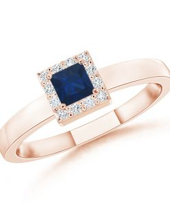 Square Sapphire Halo Promise Ring with Diamonds