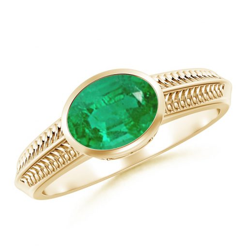 Vintage Inspired Bezel-Set Oval Emerald Ring with Grooves