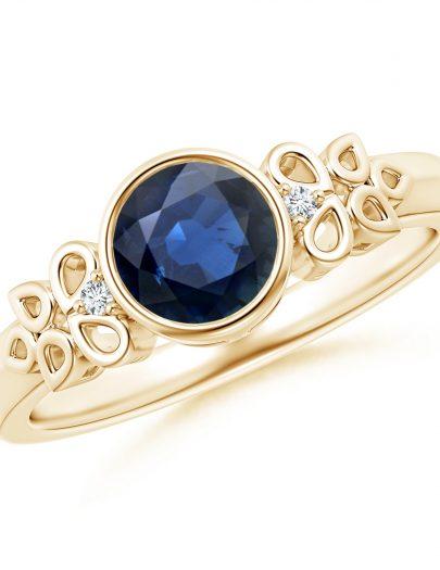 Vintage Style Round Blue Sapphire Ring with Pear Motifs