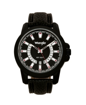 Wrangler Men's Watch, 46MM Ip Black Sandblasted Case and Bezel, Black Dial, White and Red Index Markers, Dual Crescent Cutouts For Date Function, Analog Watch, Red Second Hand, Black Strap