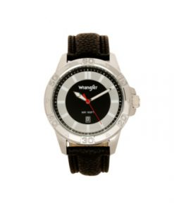 Wrangler Men's Watch, 46MM Silver Colored Case with Embossed Arabic Numerals on Bezel, Black Sunray Dial, with Silver Index Markers, Analog Watch with Black Strap